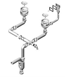 Схема сборки изделия, предназначенного для двойной раковины