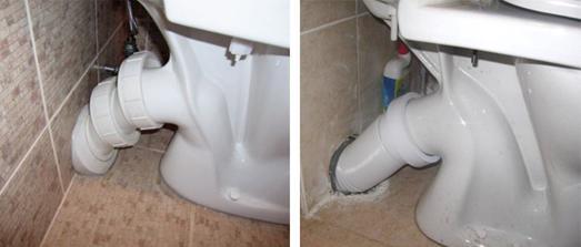 Соединение выпуска унитаза с канализацией различными манжетами