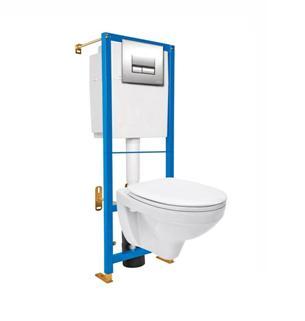 Туалет, устанавливаемый на стену при помощи инсталляции