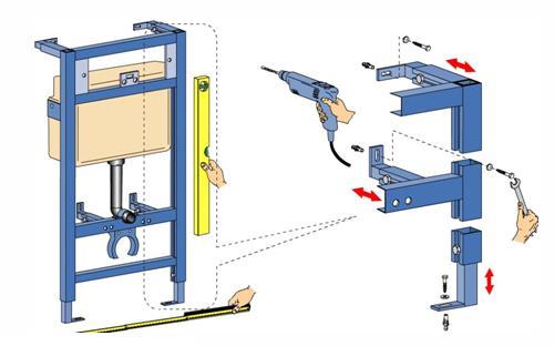Сборка и установка металлической рамы для крепления унитаза