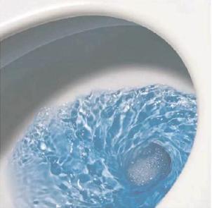 Принцип слива воды в чаше унитаза с воронкой