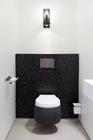 Унитаз, вмонтированный в стену туалетной комнаты
