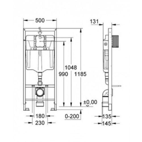 Стандартные размеры инсталляции для крепления подвесного унитаза