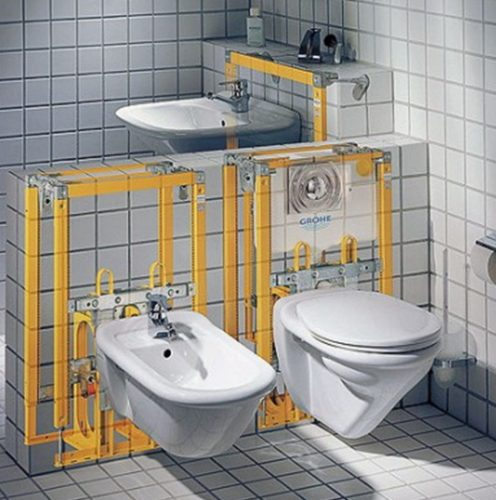 Монтаж подвесного биде производится при помощи специальной инсталляции, монтируемой в стене за отделкой