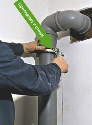 Фиксация трубы к стене хомутом