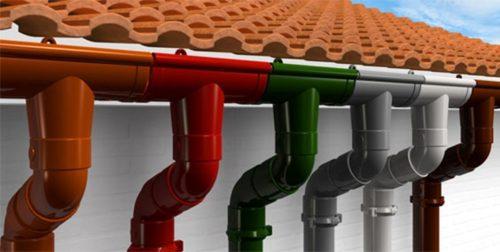 Системы водоотвода из пластика различных цветов
