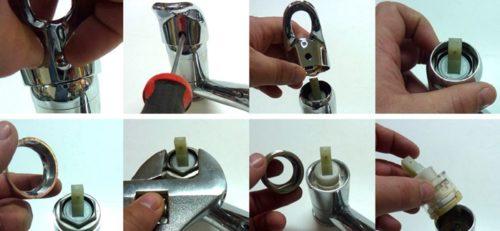 Схема разборки смесителя однорычажного типа