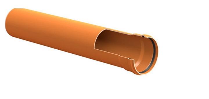 В разрезе видна простота конструкции раструбной трубы