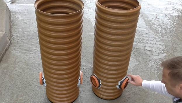 Колодцы канализации, изготовленные из гофротруб