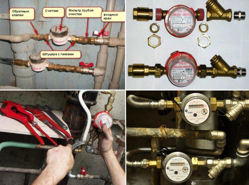 Точная схема соединения и готовый результат монтажа устройств учета воды