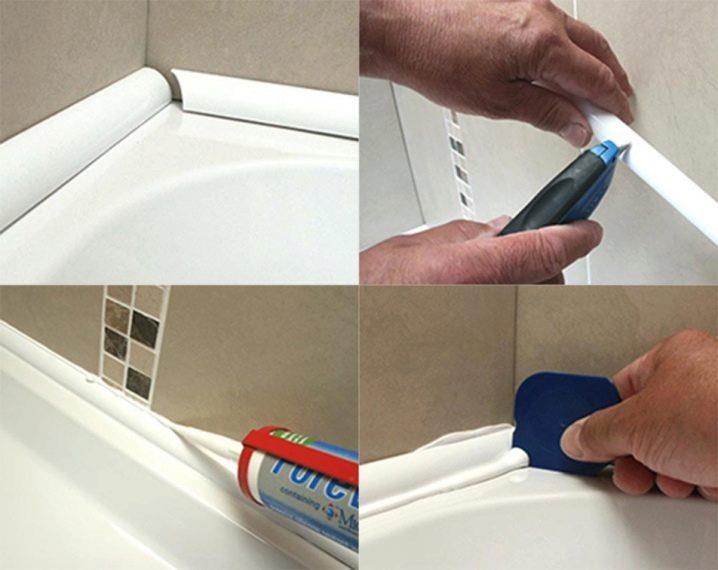 Монтаж жесткого уголка на ванну