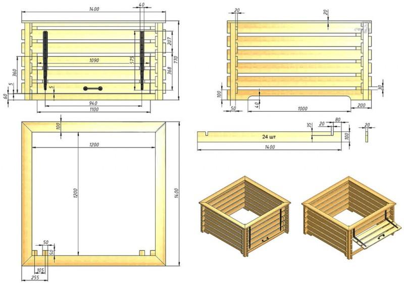 Схема-чертеж ямы для компоста