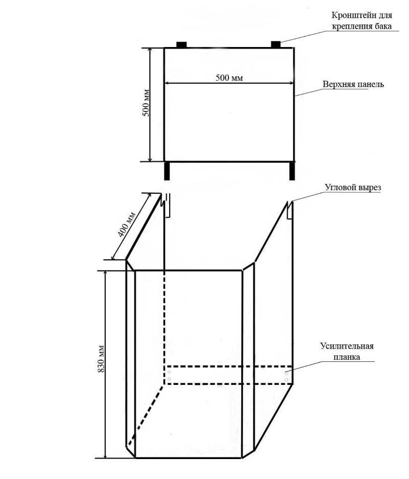Схема тумбы для рукомойника