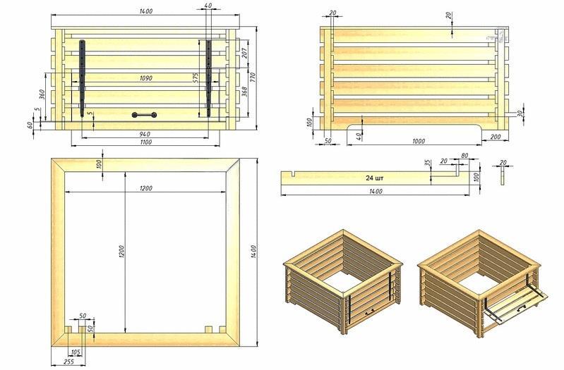 Схема конструкции компостного ящика