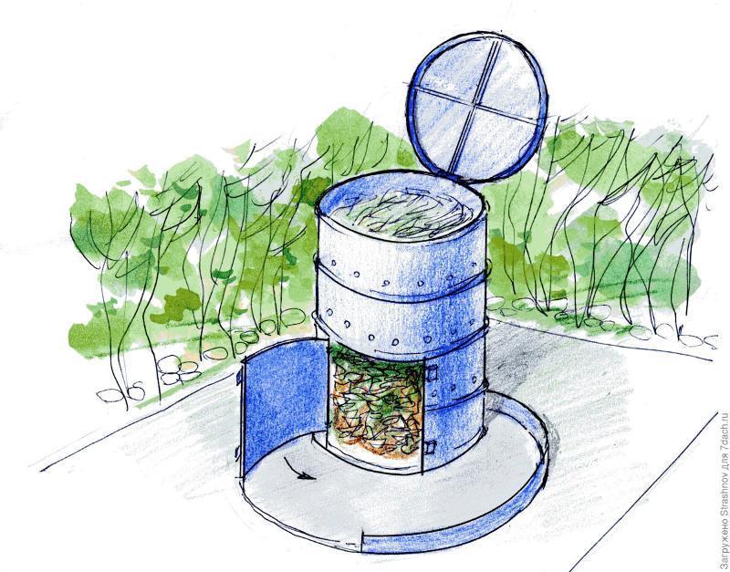 Вертикальный компостный ящик из металлической бочки