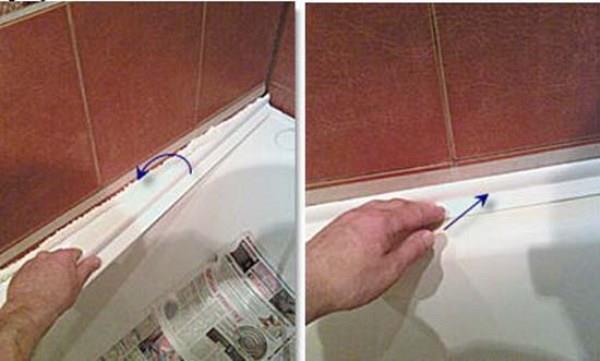 Установка бордюра в ванной