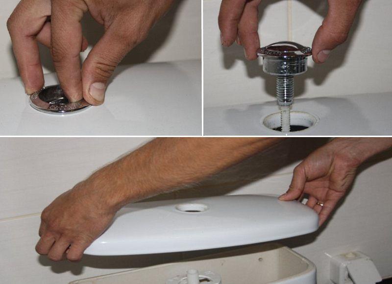 Снятие крышки с бачка с кнопкой