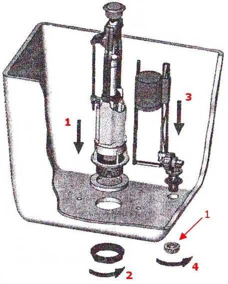 Схема крепления арматуры в сливном бачке
