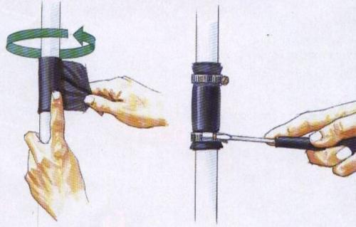 Допустимый способ устранения течи в середине трубы