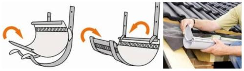 Поэтапное крепление желоба и установка заглушки