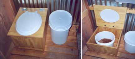 Вид туалета для загородного участка с использованием торфа вместо воды