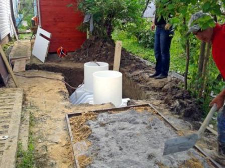 Засыпка септика цементно-песчаной смесью и заполнение водой выполняют параллельно