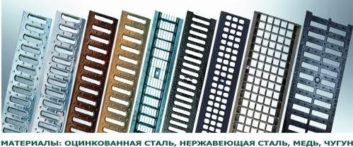 Решетки для лотков из различных материалов