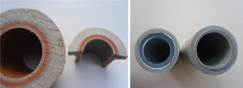 Внешний вид армированных труб: стекловолокном (слева) и алюминием (справа)