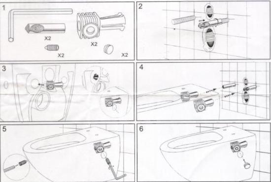 Пример инструкции по креплению подвесного унитаза