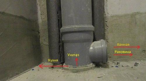 Отвод трубы при помощи тройника