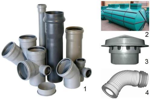 Необходимые материалы: 1 - пластиковые трубы и фитинги; 2 - септик для частной канализации; 3 – дефлектор; 4 – гофра.