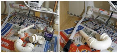Детали и сборка специального сифона для посудомоечной машины