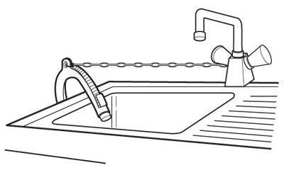 Схема размещения шланга на бортике мойки
