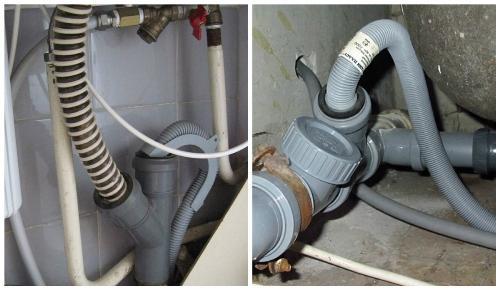Надежное подключение отводной трубы машинки к сливу раковины или ванны