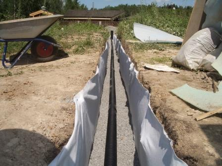 Укладка слоев дренажа: геотекстиль-керамзит-трубы