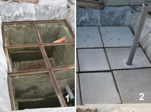 Установка швеллеров (1) и плоского шифера поверх них (2)