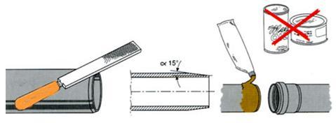 Нанесение фаски на край и смазки на поверхность трубы