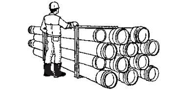 При хранении полимерные трубы можно складывать друг на друга на высоту не более чем в 1м