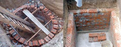 Выгребная яма может иметь как круглую, так и прямоугольную (квадратную) форму
