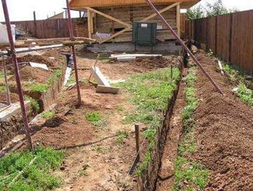 Начальная стадия монтажа открытой ливневой канализации
